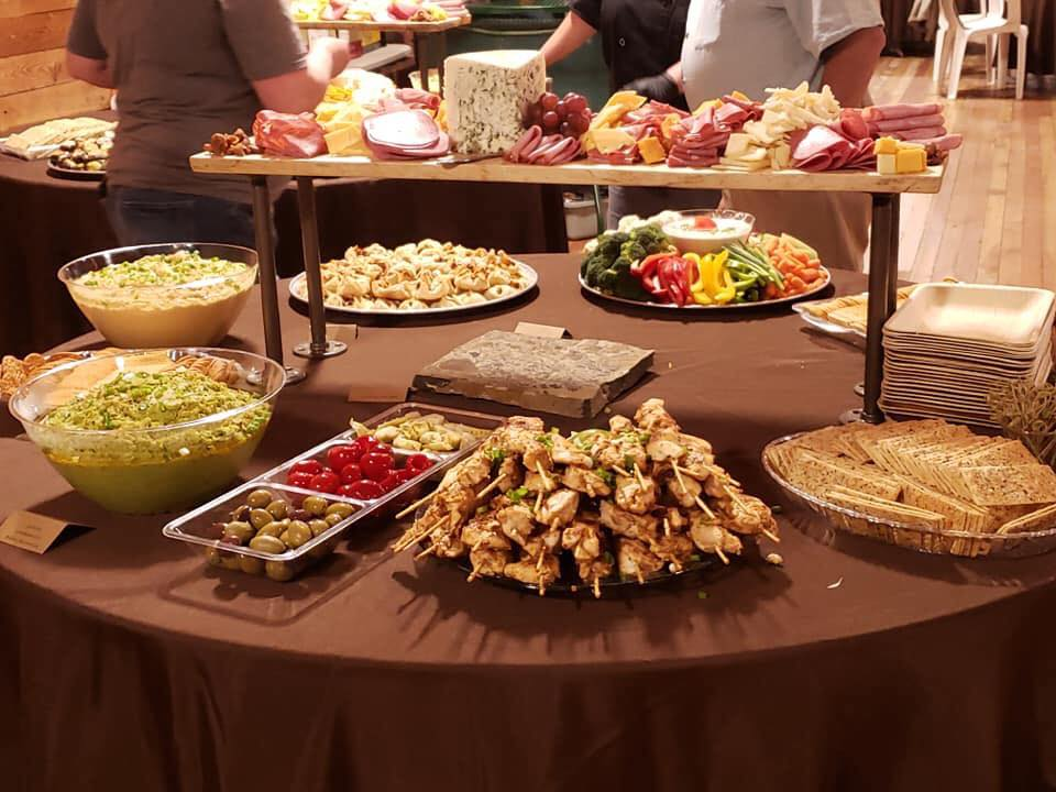 Abundant delicious appetizers and hors d'oeuvres.